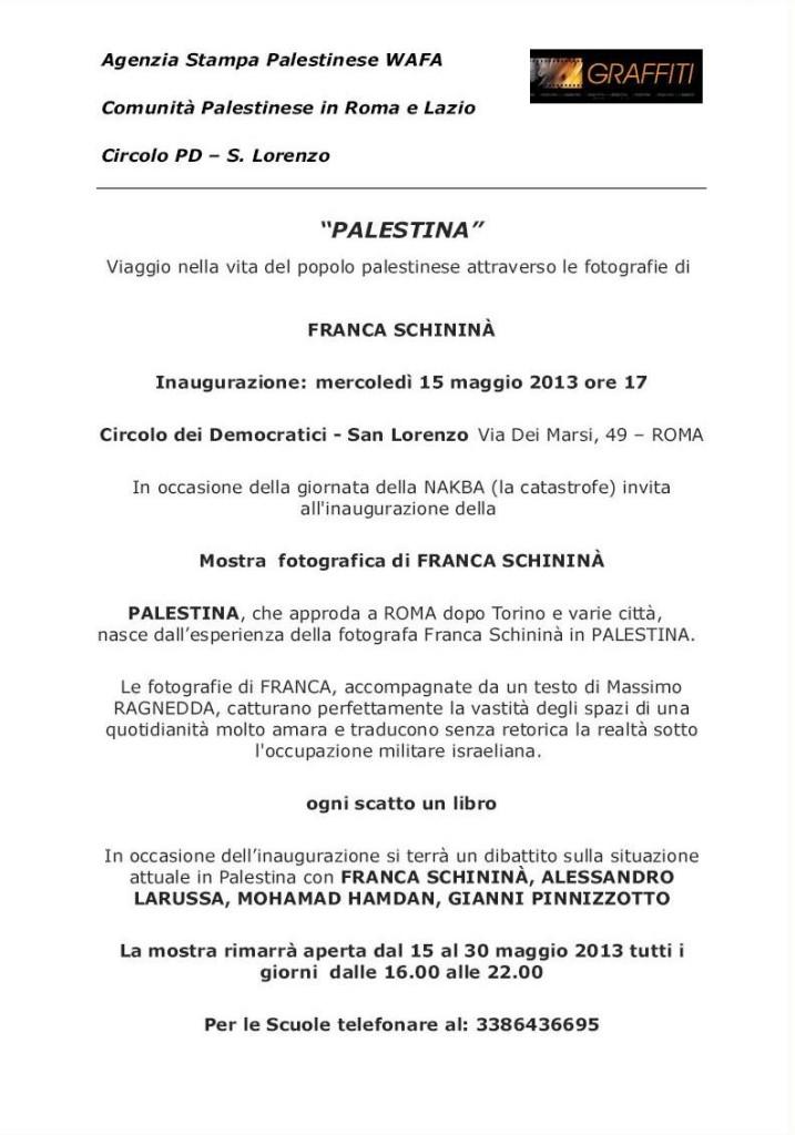 Palestina - Invito Mostra Roma