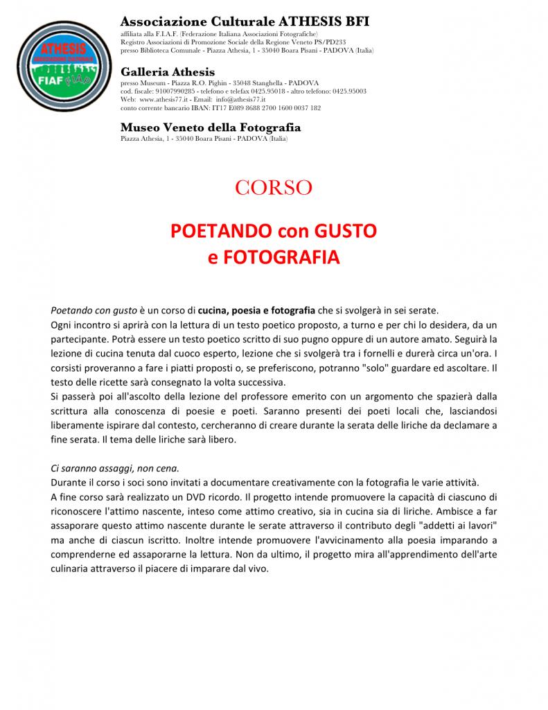 PROGRAMMA DEFINITIVO CORSO POETANDO CON GUSTO 2013
